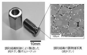 調和組織制御により作製した純チタン製ボルト・ナットとその顕微鏡写真。微細結晶粒のネットワーク構造が粗大結晶粒を包み込んでいる様子がわかる (出所:立命館大学)