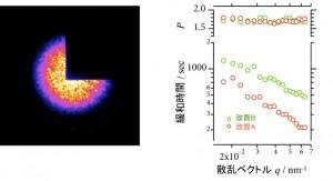 X線光子相関分光測定結果:ゴムにコヒーレントX線を入射した際に得られるスペックル像(左図)。改質によりシリカネットワーク運動の緩和時間が変化することがわかった(右図)